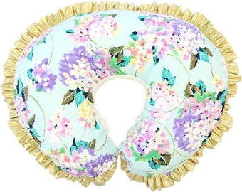 Holly's Hydrangea Floral  | Gold & Aqua Floral Ruffled Nursing Pillow Cover