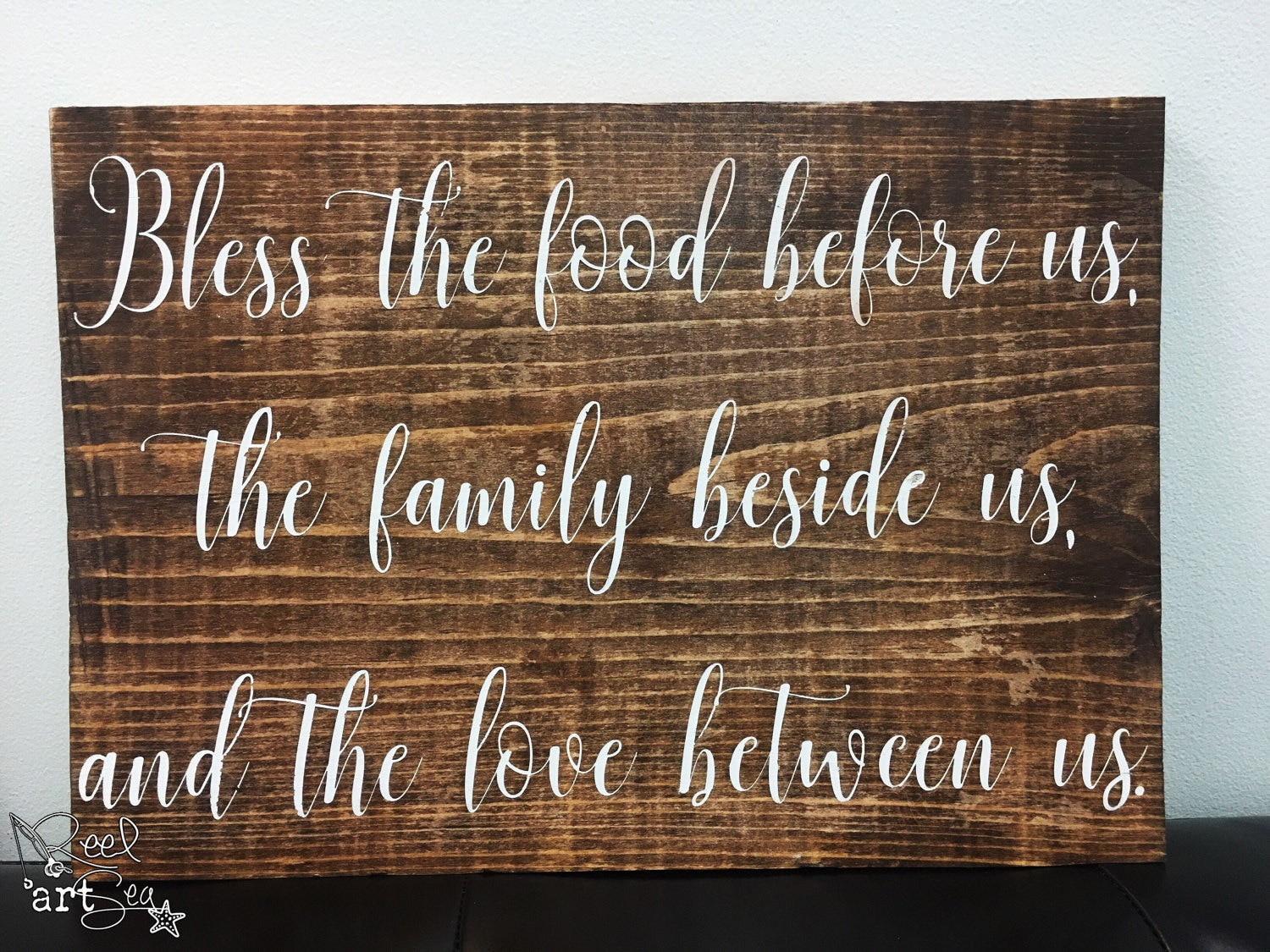 bless the food before us wood sign blessing rustic home decor. Black Bedroom Furniture Sets. Home Design Ideas