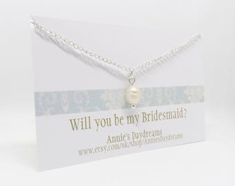 Fresh Water Pearl Necklace - Will you be my bridesmaid? - Pearl Bridesmaid Necklace - Bridesmaid Gift