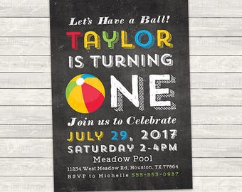 beach ball birthday invitation, turning one or two, chalkboard style, printed or printable invites