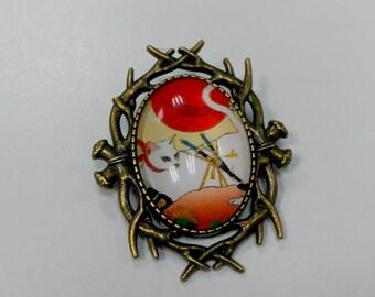 """Brooch """"Samurai cat"""", cameo brooch"""