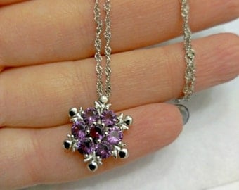 "Pendant ""Snowflake"" necklace, chain necklace"