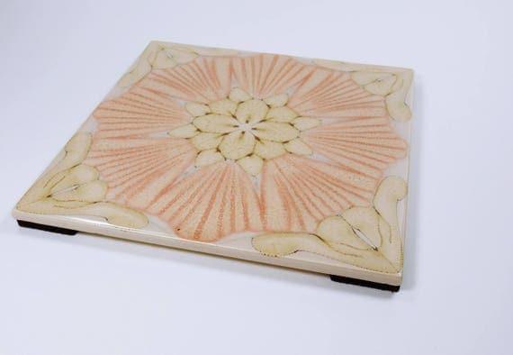 Decorative Coaster for cups, coffee cups and pots, ornament tile tile-Retro tiles-vintage ceramic tile-pink beige