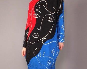 Vintage 90s Silk Jacquard Colorblock Graphic Faces Art Print Long Sleeve Sheath Dress Black Red Blue L 14