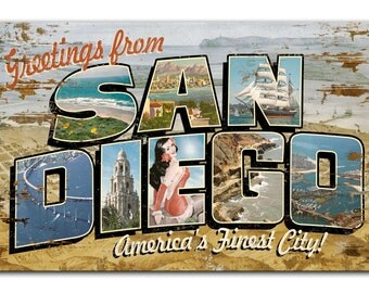 San Diego Postcard On Wood Print