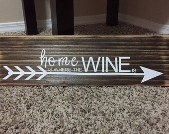 Home is where the wine is wood sign