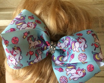 "Jojo Inspired Large 6"" Boutique Hair Bow Clip Unicorn with diamante centre."