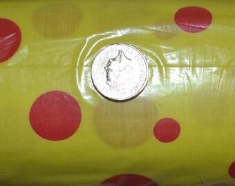 yellow with red poka dot  cotton fabric