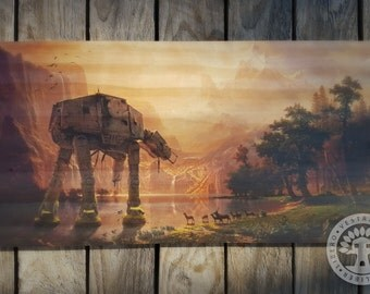 AT-AT Among the Sierra Nevada Woodblock Art