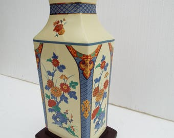 Mid Century Oriental Chinoiserie Porcelain Table Lamp- No Shade