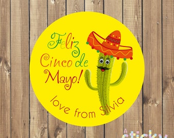Personalized Cinco de Mayo Stickers, Cinco de Mayo Labels, Mexican Stickers, Mexicano Stickers, Fiesta Stickers, Cinco de Mayo Party, Mexico