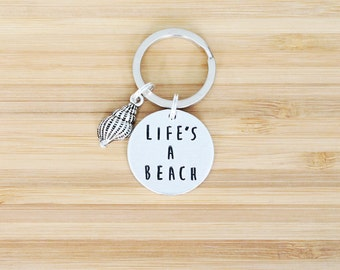 hand stamped keychain | life's a beach