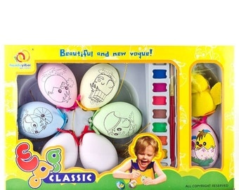 7 Animals Easter Eggs Decorating Kit + Chick Toy DIY Easter Craft- SKU # edae001b