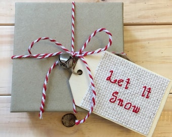 Let It Snow Gift Tag, Christmas Gift Tag, Holiday Gift Tag, Wooden Gift Tag, Cross Stitch