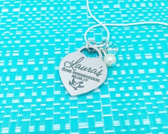 First Communion Gift, Religious Necklace, First Holy Communion, Baptism Necklace, Religious Jewelry, Personalized Locket, Gifts For Her, God