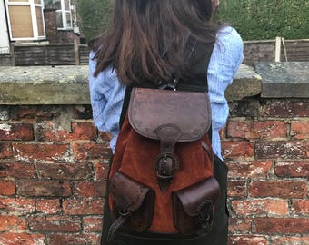 Rocio rucksack in chocolate suede and brown leather