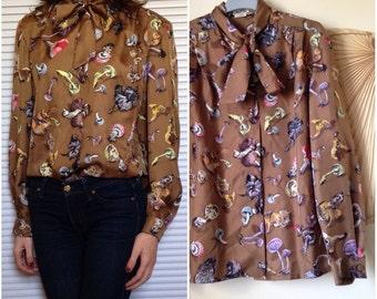 HERMES Paris blouse blouse silk mushrooms vintage patterns