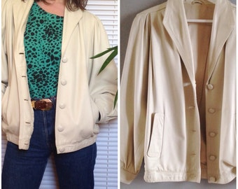 White cream vintage 80s leather jacket jacket (42 - L/XL)