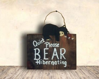 Baby Sleeping Sign - Bear Signs - Cabin Signs - Bear Art - Nursery Sign - Bear - Quiet Please Bear Hibernating Sign - Baby Shower Gift