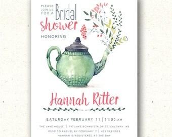 Tea Party Bridal Shower Invitation, Tea Bridal Shower Invitation, Floral Bridal Shower Invitation, Tea Party Baby Shower Invitation, Shower
