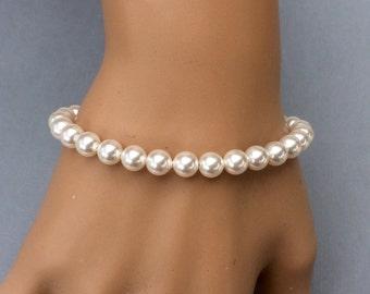 6mm swarovski pearl bracelet, swarovski pearl bridal jewellery, swarovski pearl bridesmaid bracelet, wedding jewelry, sterling silver