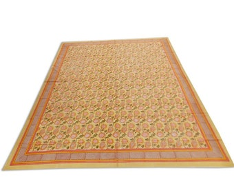 """Indian Hand Block Printed Floral Design Cotton Double Bed sheet in Yellow Color size 90x108"""""""