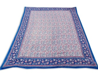 Double Bed Hand Block Printed Blue Color Quilt in Floral Design Size 90x108 Inch