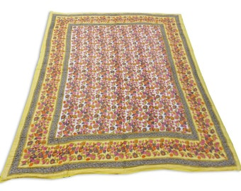 Double Bed Hand Block Printed Yellow Color Quilt in Floral Design Size 90x108 Inch