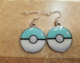 Sparkle Blue Pokeball Earrings