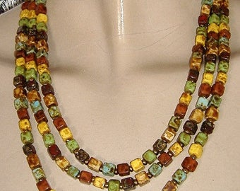 1950S GLASS AGATE  multi coloured necklace THREE stranded