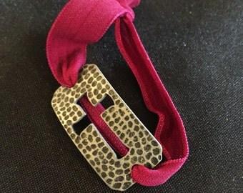 Cross Burnished Silver Bracelet