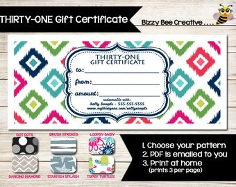 THIRTY-ONE | Gift Certificate | Gift Card | Custom | Print at Home | Customer Discount | VIP Perks | Direct Sales | Coupon | Vendor Event