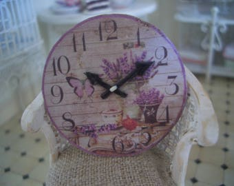 miniature round wall clock for 1/12 scale Dolls House 1:12 decoration flower Lavender Provence style shabby chic vintage 3.7 cm