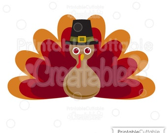 Thanksgiving Pilgrim Turkey SVG Cut File & Clipart E200 - Includes Limited Commercial Use!