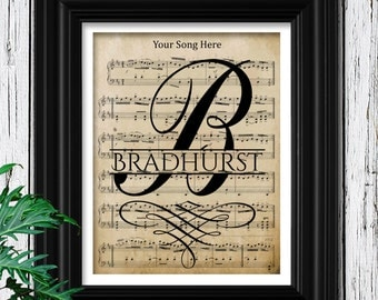 Perfect Gift for Your Husband | YOUR WEDDING SONG Print on Velvet Sheet Music Personalized with Your Names and Wedding Date | Gifts for Him