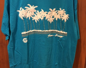 Vintage Men's XL San Diego California Palm Tree 1990s Teal Travel Tourist T Shirt Beach Southern