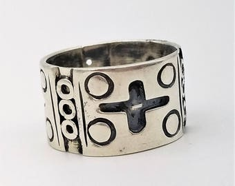 """Signed Taxco Mexico Vintage Sterling Silver 1/2"""" Wide Band Ring - Size 10.5"""