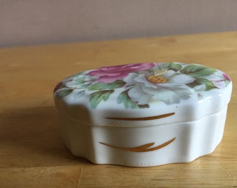 Vintage Bone China Trinket Box - Peter Gosling - with Pretty Floral Design