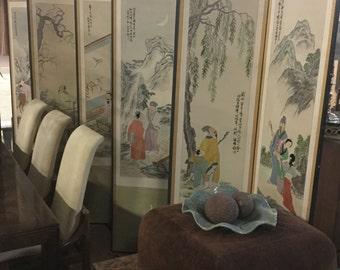 Amazing Late 19th century Handstitch Silk Chinese Screen