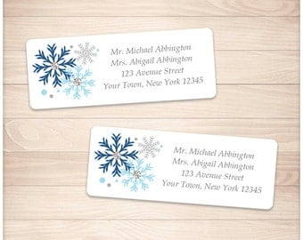 "Printable Blue Snowflake Address Labels Winter - Blue Gray - Personalized 2 5/8"" x 1"" Address Labels - Editable PDF - Instant Download"