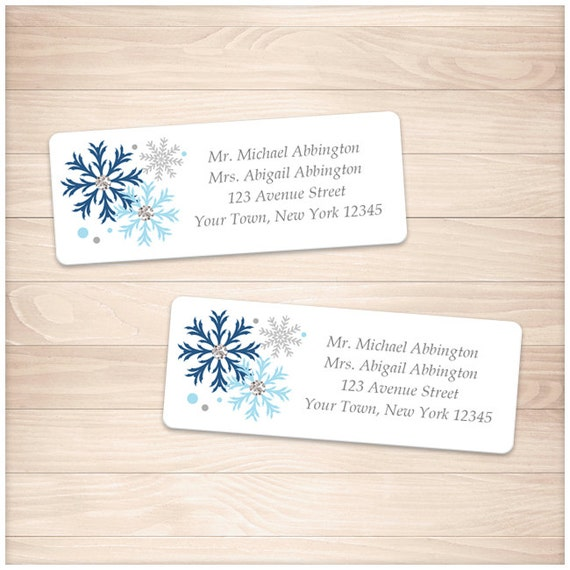 printable blue snowflake address labels winter blue gray