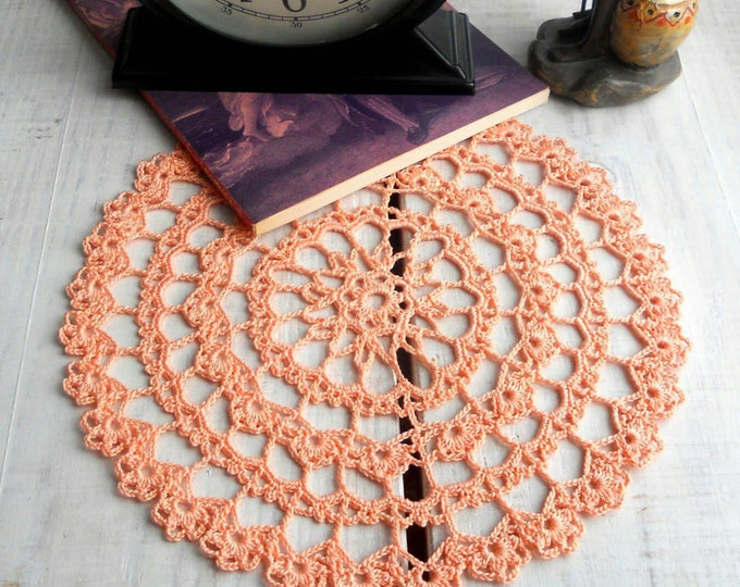 8 inch Crochet Doily, Handmade Pink Doily, Pink Lace Tablecloth, Pink Table Decor, Easter Gift, Pink Home Decor, Gift for Her, Pink
