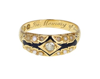 Antique Diamond and Enamel Mourning Ring