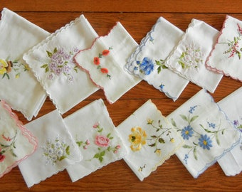 """Twelve Vintage Hankies Handkerchiefs Cotton with Embroidered Flowers and Scalloped Edges 9"""" to 14"""" Square--Lot #5"""