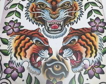 Tiger Tattoo Art Print
