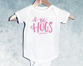 Big Hugs Bodysuit, Baby Girl T-shirts, Baby Girl Shower Gift, Gift for Newborn Baby Girl, Gift for Toddler, Gift for baby girl