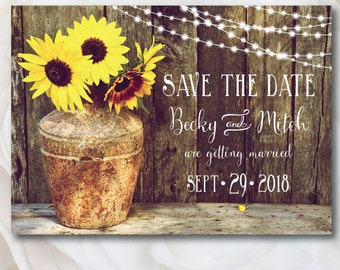Rustic Save The Date, Sunflower Save The Date, Country Wedding Invitation, Rustic Save the Date Postcard, Barn Wedding, Lights