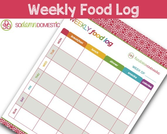weekly food log    diet diary printable planner letter size