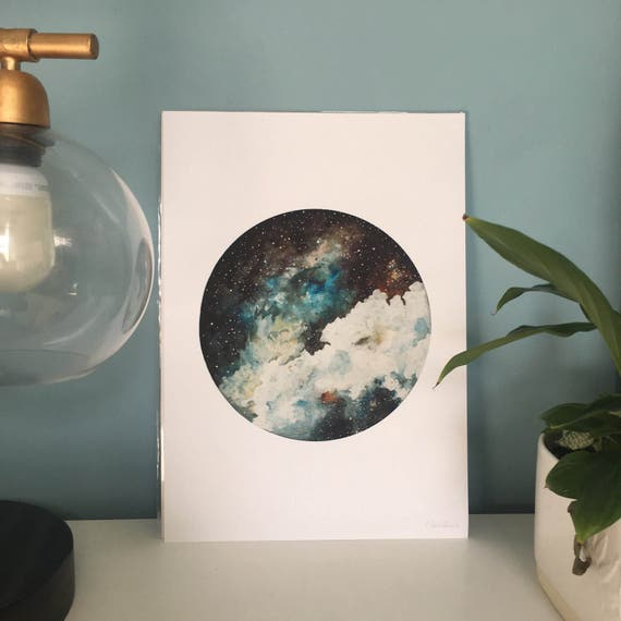 Limited Edition Nebula Print, Hand-finished with Silver Leaf