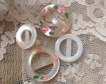 Baby Pearl Shell Buckles. Slides. Dolls.